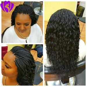 Sıcak satış kısa örgülü dantel ön peruk sentetik ısıya dayanıklı saç bob kutusu örgü siyah kadınlar ücretsiz gönderim için peruk