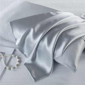 PillowCase 100% Mulberry Silk 19 mome Double Side Natural Fiber Solid Color Zipper Type Hair Care Satin Pillow Case Home Decor Bedding