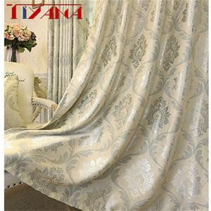 Luxo Europeu Jacquard cortinas para Sala Bege cortinas da janela Painel de tecido da cortina Para Quarto sombreamento 80% personalizado
