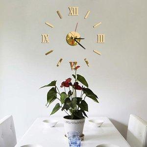 high quality Modern DIY Interior Roman Wall Clock Wall Clock 3D Sticker Home Mirror Effect 4 Style 3D Wall Stickers