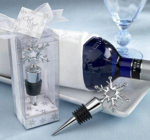 Снежинка бутылки вина Пробка сувениры подарки красное вино хранения Twist Cap подключи Свадеб Supplies Рождественский подарок благосклонности FFA3103