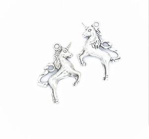 100PCS / серия Antique Silver Bronze покрыл Unicorn Лошадь Подвеска Подвески для изготовления ювелирных изделий браслета Аксессуары DIY 27x20mm