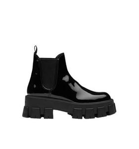 Original Box Monolith Lackleder Booties Italien Luxus Neuerscheinung Chunky Frauen Punk Moto Stiefeletten Schwarze Schuhe elastifizierten Seiten