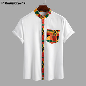 INCERUN Men Shirt Streetwear Ethnic Style Printed Short Sleeve Tops Stand Collar Button Men African Clothes Dashiki Camisa 2020