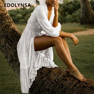 Robes pour dames 2019 élégante robe longue en dentelle blanche en dentelle Sexy devant ouvert profond col en V à volants Maxi robe été femmes tunique de plage N561 Y19012102
