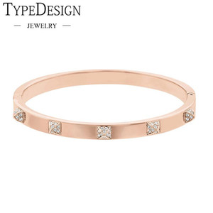 TYPE JEWELRY Tactic Thin crystal texture rose gold PVD bracelet for women