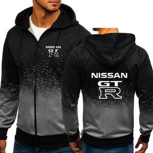 New Men Hoodies Casual branco GTR Nissan GTR camisola da moda Zipper Sportswear Fatos roupa