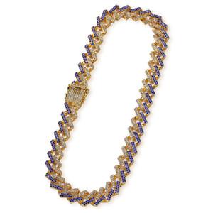 15 mm HIPHOP Color de oro Bling Iced Out Crystal Miami Cuba Cadena Cuba Collar de plata de oro Venta caliente El rey Hiphop Joyería al por mayor