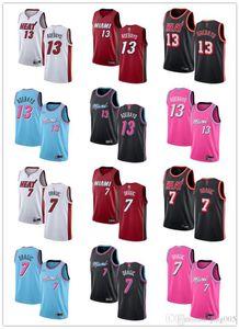 MensWomensYouthMiamiHeat13 EdriceAdebayo 7 GoranDragic Red black white blue pink custom BasketballJerseys