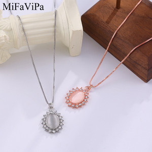MiFaViPa Jewelry Cat Eye Color Necklace Female New Japanese and Korean Clavicle Chain Simple Rose Gold Color Temperament Wholesale Necklace