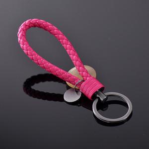 Fashion Unisex Braided Leather Rope Handmade Waven Keychain Leather Key Chain Ring Holder for Car Keyrings Men Women KeyChains 4.7