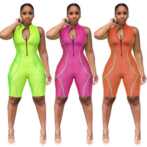 Mulheres verão zipper up turn down neck sem mangas na altura do joelho jumpsuit moto biker casual sporting romper playsuit