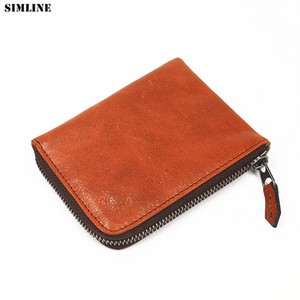 Genuine Leather Wallet For Men Women Vintage Handmade Short Small Zipper Wallets Purse With Coin Pocket Card Holder Money Bag