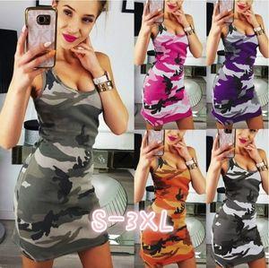 Pop2019 Neck Round Sleeveless Dress Camouflage