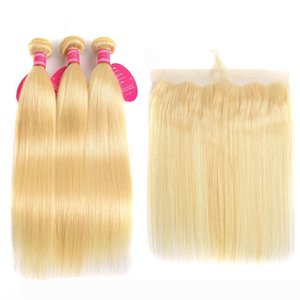 Perstar 613 Blonde Straight Brazilian Hair Weave Human Hair Bundles With Lace Front 3 Bundles With Lace Frontal Closure Remy Hair