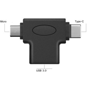 2 in 1 OTG Converter USB 3.0 to Micro USB and Type C Adapter Connector for Samsung Xiaomi Huawei JK2007KD