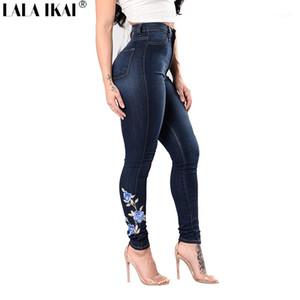 LALA IKAI вышивки Цветочные Печатные джинсы Женщины высокой талией Полная длина Джинсовые брюки дамы молния карман тощий джинсы KWA0242-51