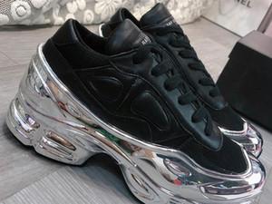 модельер бренд мужских женские шнурки подошв с покрытием зеркала светоотражающих Ozweego красочного градиентом полого мужского Raf Simon рынк случайного обуви