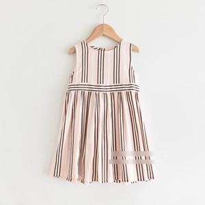 주름 드레스 A2662 조끼 달콤한 소녀 스트라이프 프린트 드레스 여름 새로운 어린이 세로 줄무늬 공주 드레스 아이면