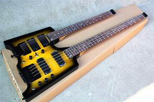 Personalizados 6 + 4 cuerdas doble del cuello negro y amarillo de la guitarra eléctrica, toda la espalda, palisandro, sistema de tremolo, se puede personalizar