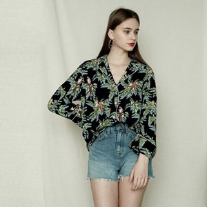 Europe And The United States Sexy Seaside Holiday Wind Printing Flip Collar Collar Color Piping Stitching Single-Breasted Loose Shirt Women