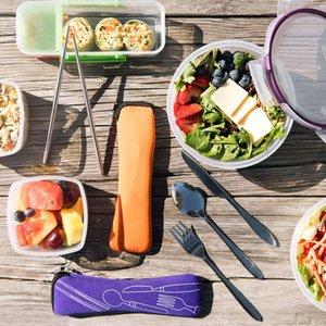 La caja del filtro de neopreno portable al por mayor de viajes personalizados lavable Cubiertos Kit Juego de cubiertos de cubierta cuchillo Vajilla bolsa con la cremallera
