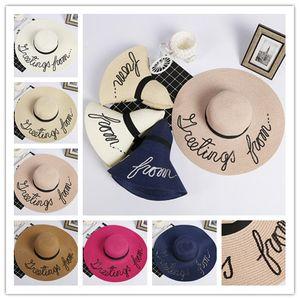 Le chapeau pliable des femmes d'été de printemps chapeaux larges bords dame chapeaux de plage avec le bateau libre de chapeau de soleil de paillettes brodées