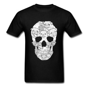 T-shirt Erkekler Pug Köpek Kafatası Custom Made Baskılı Köpek Hayvan Tees Kısa Kollu Homme T Shirt Artı Sisze