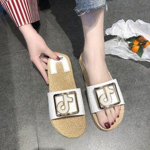 Overseas2019 Red Network Прочая одежда Мода на все ноги с плоским дном Нескользящая песочная тапочка Женщина Tide Пляжная обувь