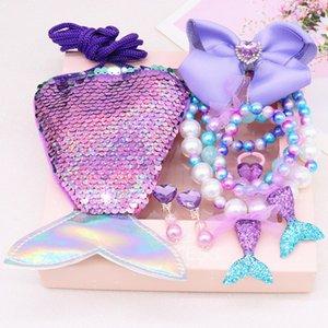 BabyGirlsMakeupGiftMermaid Sequins PrincessWalletNecklaceBraceletRingHairpinEarringsKids PrincessJewellry GiftPack