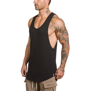 Men Summer Gyms Clothing Fitness Cotton Tank Tops Men jogging Bodybuilding sleeveless Shirt Breathable O-Neck Casual Muscle Vest
