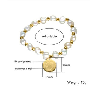 Fashion Jewelry Gift For Lady Freshwater Pearl Beads Bracelet Stainless Steel Jesus Pulseras Mujer Moda