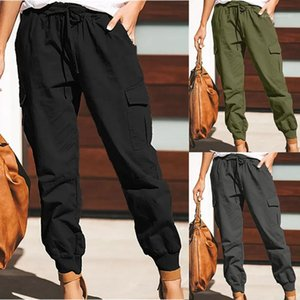 Trousers Solid Color Womens Cargo Pants Fashion Relaxed Elastic Waist Ankle Banded Pants Casual Womens Summer