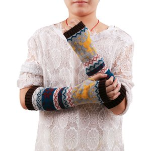 Women Fingerless Knitted Gloves Arm Warmer Winter Gloves high quality Dark GreyKhaki Coffee Red Length 37cm 30H