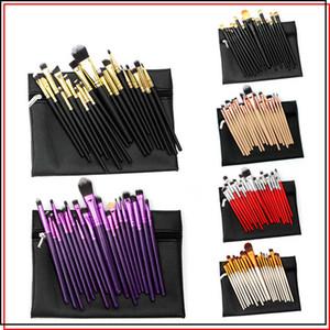 Professionelle Make-Up Pinsel 20 Stück Lidschatten Make-up Pinsel Kits Puder Augenbraue Kosmetik Set Werkzeug mit PU Ledertasche Tasche Schwarz Gold Rot
