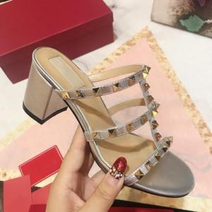 2019 NEW Luxury Designer slipper womens Beach Indoor Rivet heels sandals causal summer slippers high:6cm size 35-40
