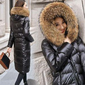 Lungo anatra Bianco Nero Giù cappotto collo di pelliccia Donne incappucciato spesso inverno di grandi dimensioni antivento Outwear neve Warm Jacket femminile Puffer