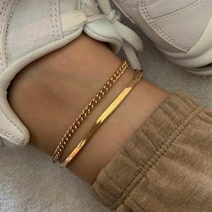 2020 Rose Gold Cor Aço Inoxidável Serpente de acessórios de cadeia tornozeleira Feminino coreano simples retro pé pulseira de praia boho jóias