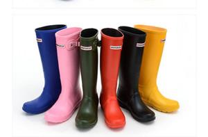 welly çizmeler Lastik su ayakkabı rainshoes rainboots Kadın moda Diz-yüksek boylu yağmur botları İngiltere tarzı su geçirmez yağmur çizmesi