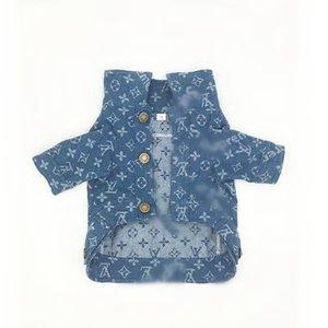 블루 Denim 재킷 애완 동물 개 남녀 공통 코트 야외 여행 걸을 개를 애완동물 동 드레스 해야 합 옷을 뜨거운 무료배송