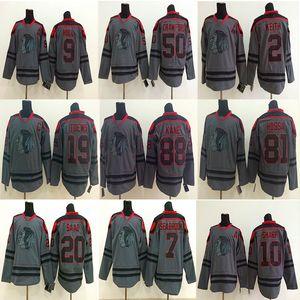 Blackhawks Charcoal Cinza Jersey Chicago Blackhawks Gelo Hóquei Jerseys 88 Patrick Kane 19 Jonathan 2 Keith 10 Sharp 50 Crawford Jerseys