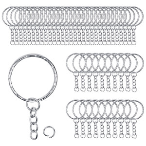 Llaveros de metal de 50 piezas con cadenas y pequeños anillos divididos redondos para organizar llaves y hacer manualidades 1.4 * 28 mm de plata