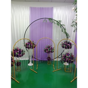 Wedding home party stage backdrop arch props n-shaped metal wrought iron road lead artificial flowers stand decoration ornaments