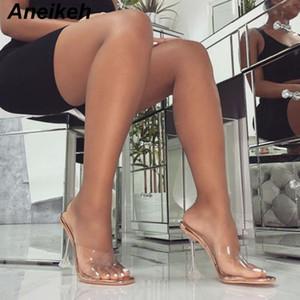 Aneikeh nuevo del verano 2019 zapatos transparentes de PVC concisas de los deslizadores de las mujeres del dedo del pie cuadrado de vidrio transparente, fino tacón alto de la PU Champagne amarillo