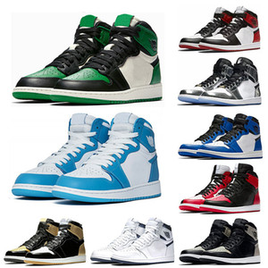 1s Mens basketball shoes top Pine Green Court Purple OG 1 Game Royal Blue Backboard sports sneaker trainers size 7-13
