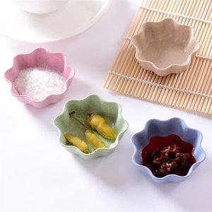 10pcs créatif plats de fleurs de prunier assiette de paille de blé assiette de collation plaque chili sauce ketchup vinaigrette sel plat wh1003
