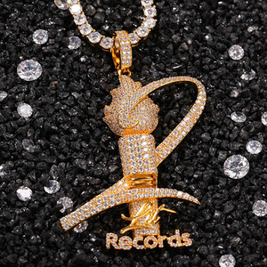 New Designer Hip Hop Gold Bling CZ Cubic Zirconia Memorial Trophy Diamond Mens Iced Out Diamond Torch Rapper Jewelry Gift For Men and Women