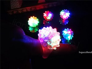 Flashing Bubble Ring Rave Party Blinking Soft Jelly Glow Led Light Up party favor kids gift plastic ring 100pcs lot FFA3475