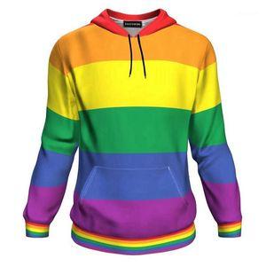 Nouveau couple Designer manches longues Couple Vêtements LGBT célèbre à capuche rayé imprimé arc-en-Femmes Sweats à capuche courte
