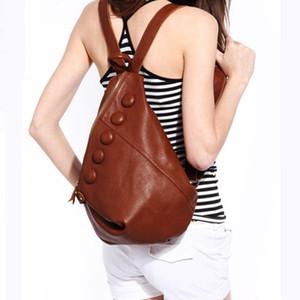 Diseñador-MANFUNI mochilas de cuero genuino de las mujeres del cuero del diseñador bolsos de las señoras Mochila mujer de Alta Capacidad Bolsa Feminina